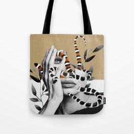 Woman and snakes Tote Bag