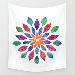 Rainbow Leaves Wall Tapestry