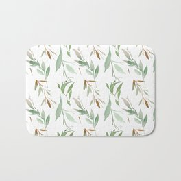Pastel green brown watercolor hand painted leaves Bath Mat
