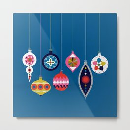 Retro Christmas Baubles on a dark background Metal Print