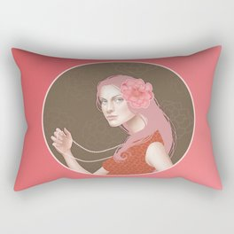 Girl Holding a Pearl Necklace Rectangular Pillow