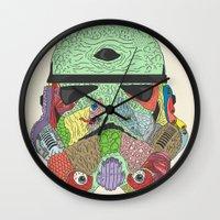 trooper Wall Clocks featuring Gore Trooper  by Josh Ln