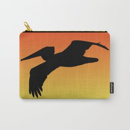 Brown Pelican in Flight Silhouette at Sunset Carry-All Pouch