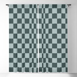 Checkerboard Pattern Inspired By Night Watch PPG1145-7 & Blue Willow Green PPG1145-4 Blackout Curtain