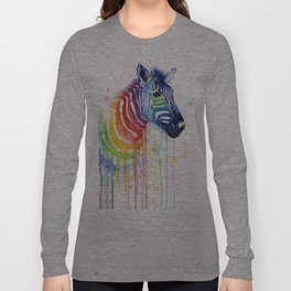 Zebra Rainbow Watercolor Whimsical Animal Long Sleeve T-shirt