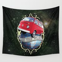 vw bus Wall Tapestries featuring VW T2 Bus - Cross the World by GET-THE-CAR