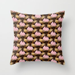 Brown Moths On Pink Throw Pillow