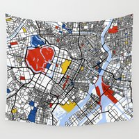 mondrian Wall Tapestries featuring Tokyo Mondrian by Mondrian Maps
