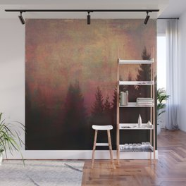 Repose, Abstract Landscape Trees Sky Wall Mural