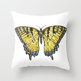 Yellow Swallowtail Butterfly Throw Pillow