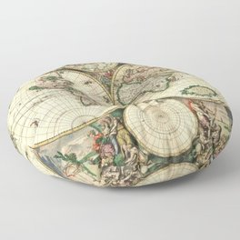 Old map of world (both hemispheres) Floor Pillow
