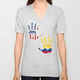 USA Colombia Handprint & Flag   Proud Colombian American Heritage, Biracial American Roots, Culture Unisex V-Neck