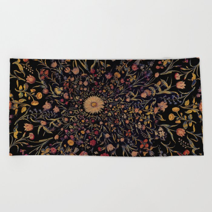 Medieval Flowers on Black Beach Towel