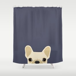 French Bulldog Peek - Cream on Navy Shower Curtain