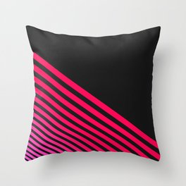 Modern Neon Pink  Linear Stripes and Coal Black Throw Pillow