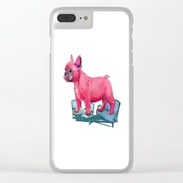 animals in chairs # 23 French Bull Dog Clear iPhone Case