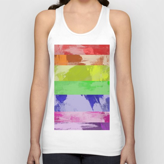 Rainbow Stripes - Abstract, textured, red, orange, yellow, green, blue, indigo, violet artwork Unisex Tank Top