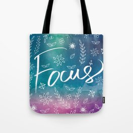Blue Teal Purple Focus Meditation Spirituality Sucess Typography Floral Illustrations Quote Art Tote Bag