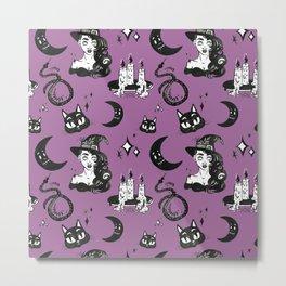 Purple Halloween Witch Pattern Metal Print
