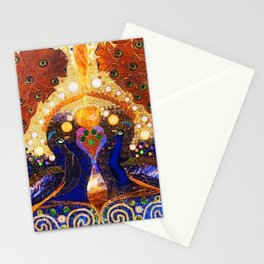 Peacocks in Lily Pond Mosaic Painting by Louis Comfort Tiffany Stationery Cards
