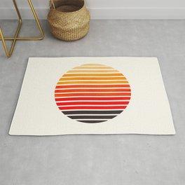 Orange Mid Century Modern Minimalist Scandinavian Colorful Stripes Round Circle Frame Rug