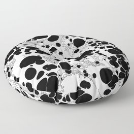 Black White Gray Monochrome Bubble Dots Spilled Ink Mess Effect Floor Pillow