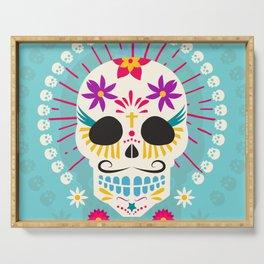 Dios De Los Muertos Day of the Dead Sugar Skull Fiesta Serving Tray