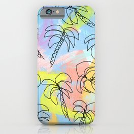 Palm tree pattern summer illustration tropical beach California pastel color iPhone Case