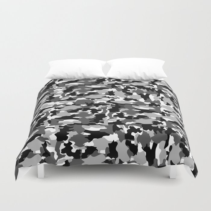 black and white Background Pattern Camo Duvet Cover