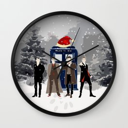 Tardis Happy Holidays Wall Clock