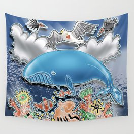 the blue whale Wall Tapestry
