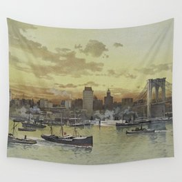Vintage Pictorial View of NYC (1896) Wall Tapestry