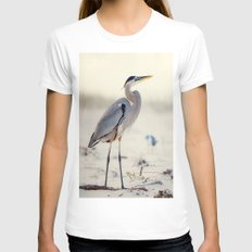 Great Blue Heron at the Beach LARGE White Womens Fitted Tee