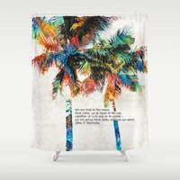 jfk Shower Curtains featuring Colorful Palm Trees - Returning Home - By Sharon Cummings by Sharon Cummings