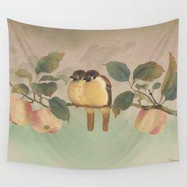 Golden Birds in Fruit Tree Wall Tapestry
