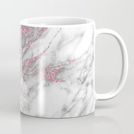 Gray & pink glitter faux messy marble texture Coffee Mug
