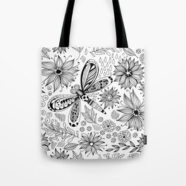 Dragonfly and flowers doodle Tote Bag