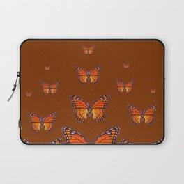 ORANGE MONARCH BUTTERFLIES COFFEE BROWN Laptop Sleeve