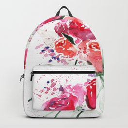 Abstract Watercolor Red Roses Backpack