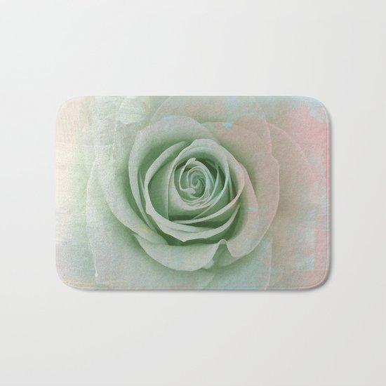 Elegant Painterly Mint Green Rose Abstract Bath Mat