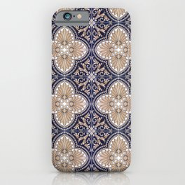 Portuguese Tiles Azulejos Blue and Brown Pattern iPhone Case
