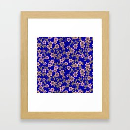 Abstract blush pink brown sky blue flowers Framed Art Print