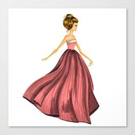 GIRL - Lady In Red - BLONDE - watercolor Canvas Print