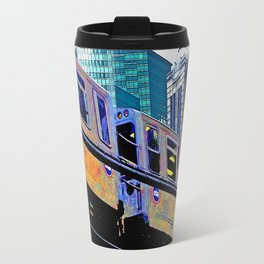 Chicago 'L' in multi color: Chicago photography - Chicago Elevated train Travel Mug