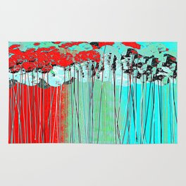 Long Stem Abstract Flowers Rug