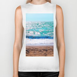 sandy beach with blue water and blue sky in summer Biker Tank