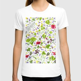 Leaves and flowers pattern (27) T-shirt