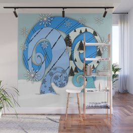 Whimsical Christmas Trees In Beachy Blues Wall Mural