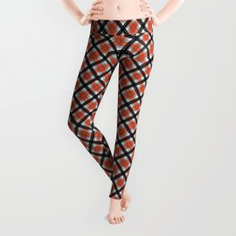 Black and orange plaid Leggings