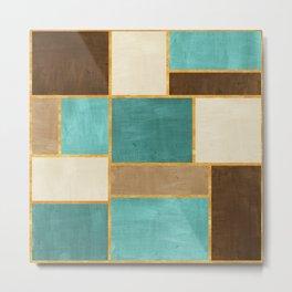 Watercolor Color Blocks // Teal, Blue Green, Dark Brown, Coffee Brown Metal Print